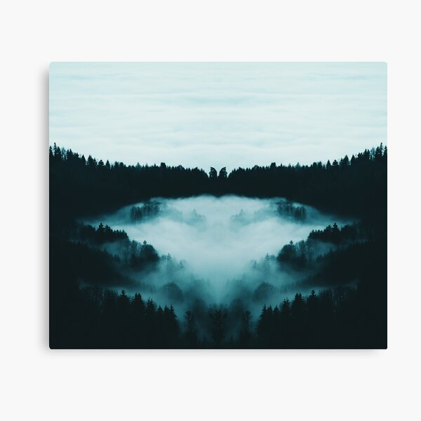 Foggy Forest Morning and Mystery Nature Enchanted Woodland  Canvas Print