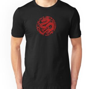 Traditional Red Chinese Dragon Circle Art Prints By Jeff