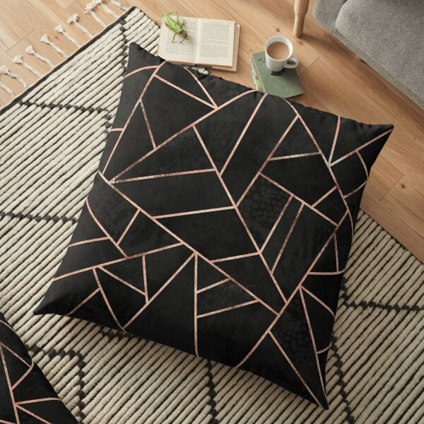 Black And Rose Gold Floor Pillow