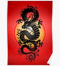 Black Chinese Dragon on Red Poster