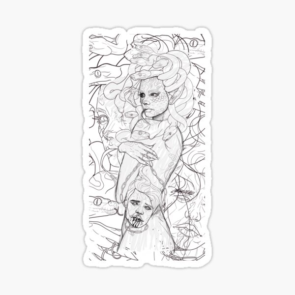 Medusa Sketch Pegatina