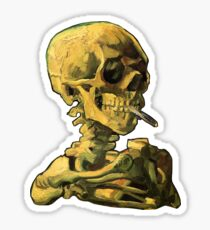"""Vincent Van Gogh - """"Schädel eines Skeletts mit brennender Zigarette"""" Sticker"""