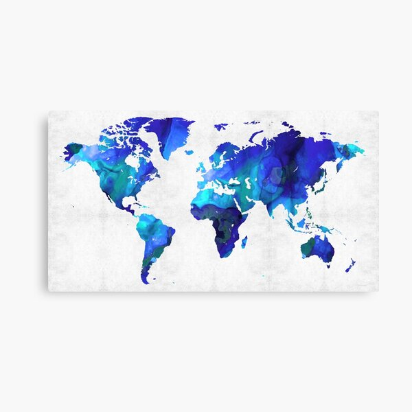 World Map 17 - Blue Art By Sharon Cummings Canvas Print
