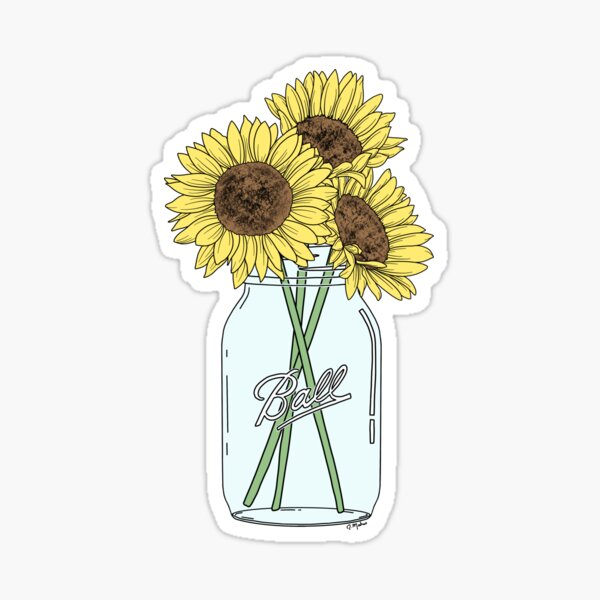 Mason Jar Sunflowers Pegatina