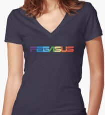 Peg-ASUS Rainbow Women's Fitted V-Neck T-Shirt