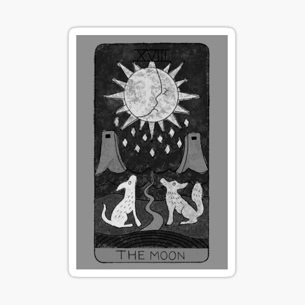 The Moon Tarot Card Black and White Sticker