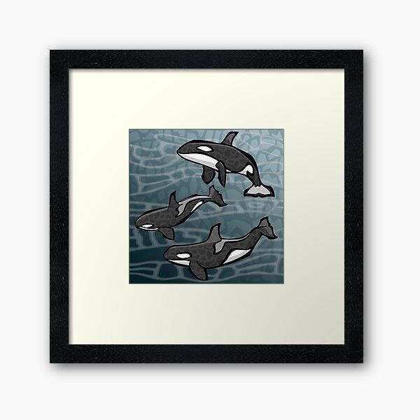 Three Orcas | Animal Series | DopeyArt Framed Art Print