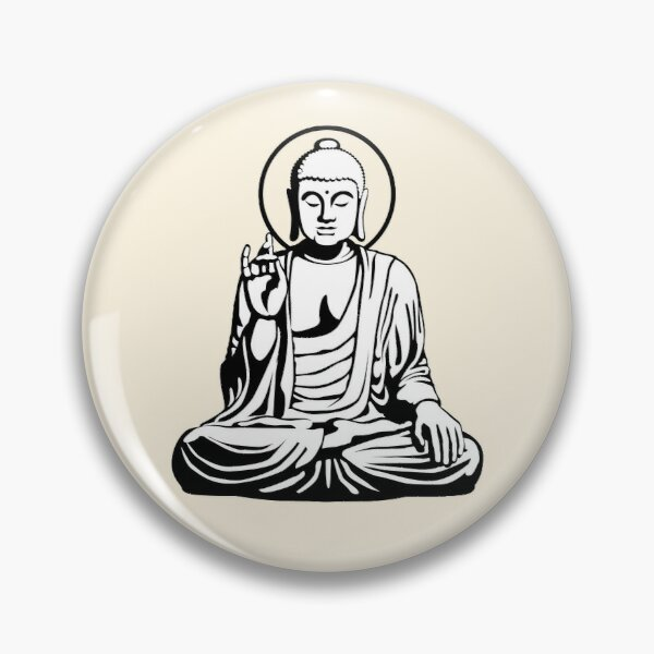 Young Buddha (black white) Pin