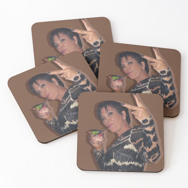 kris and her glass Coasters (Set of 4)