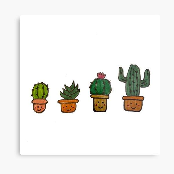 Cacti Characters Metal Print