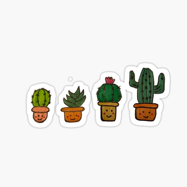 Cacti Characters Sticker