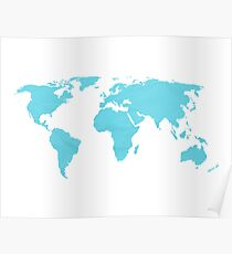 Simple blue world map Poster