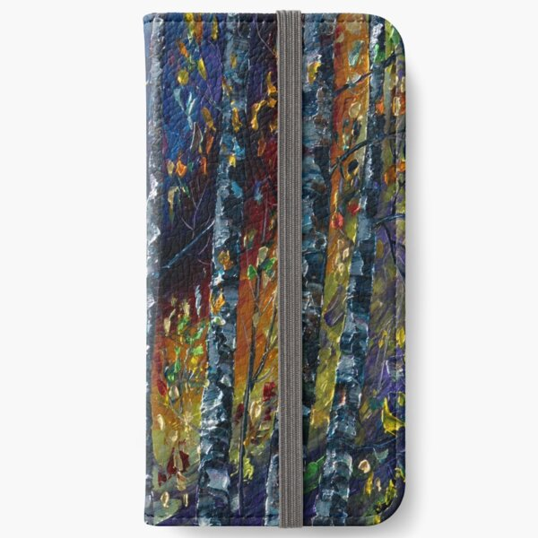 Moonlight Sonata With Aspen Trees Paltte Knife Painting    iPhone Wallet