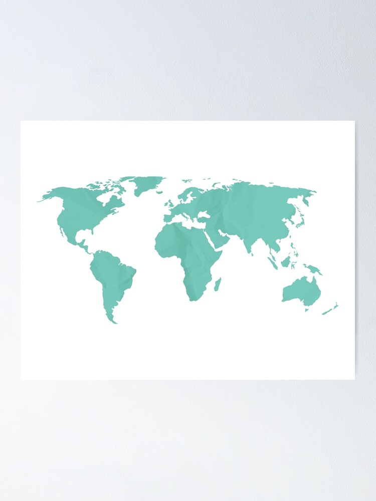 Simple Teal World Map Poster By Adventureliela Redbubble
