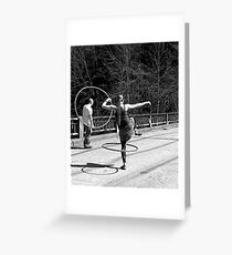 Jumping Through Hoops (Black and White) Greeting Card