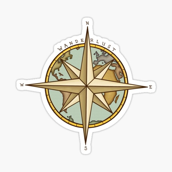 Wanderlust Compass & Map Pegatina