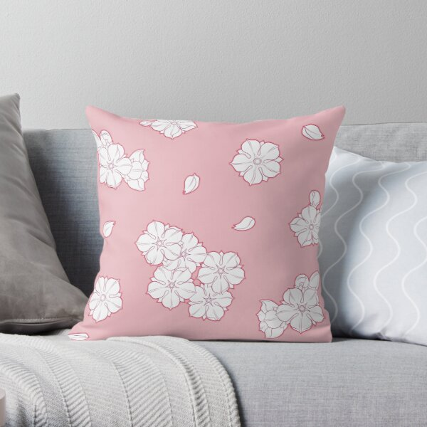 Pink Cherry Blossom Spring Pattern Throw Pillow