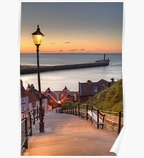 Whitby Steps - Orange Glow Poster