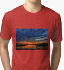 Boat, sunset and dramatic sky Tri-blend T-Shirt