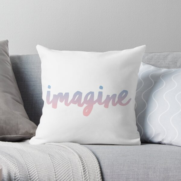 IMAGINE {blue and purple text} Throw Pillow