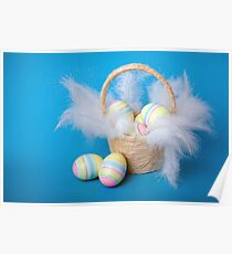Easter eggs in a basket  Poster