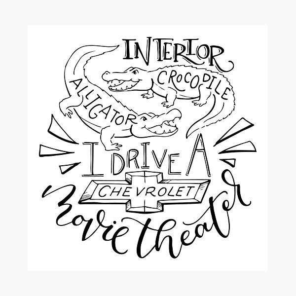 (Transparent) Interior Crocodile Alligator Hand Lettered Photographic Print