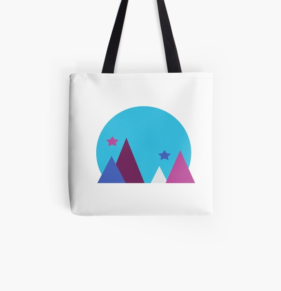 Colorful Geometric Mountain All Over Print Tote Bag