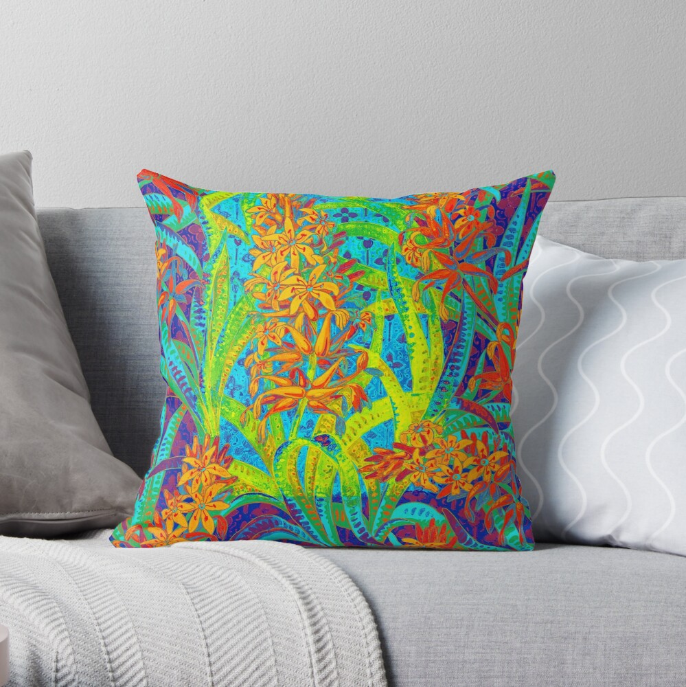 Floral Colorful Pattern Throw Pillow