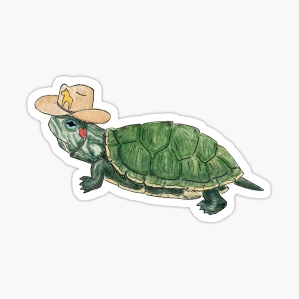 Cowboy Turtle Sticker