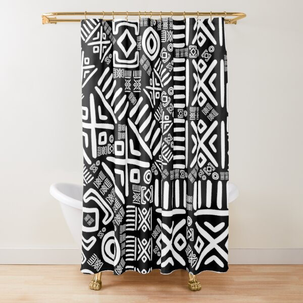 Ethnic African Pattern- Black and White #6 Shower Curtain