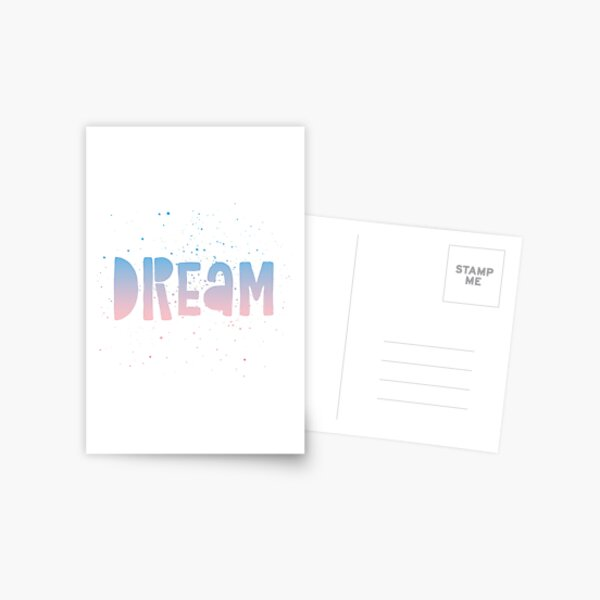 DREAM {blue and pink text} Postcard