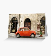 orange car in Gubbio Greeting Card