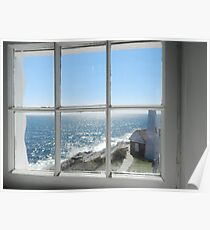 Looking Out the Light House Window Poster