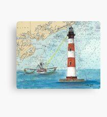 Morris Island Lighthouse SC Chart Map Cathy Peek Canvas Print