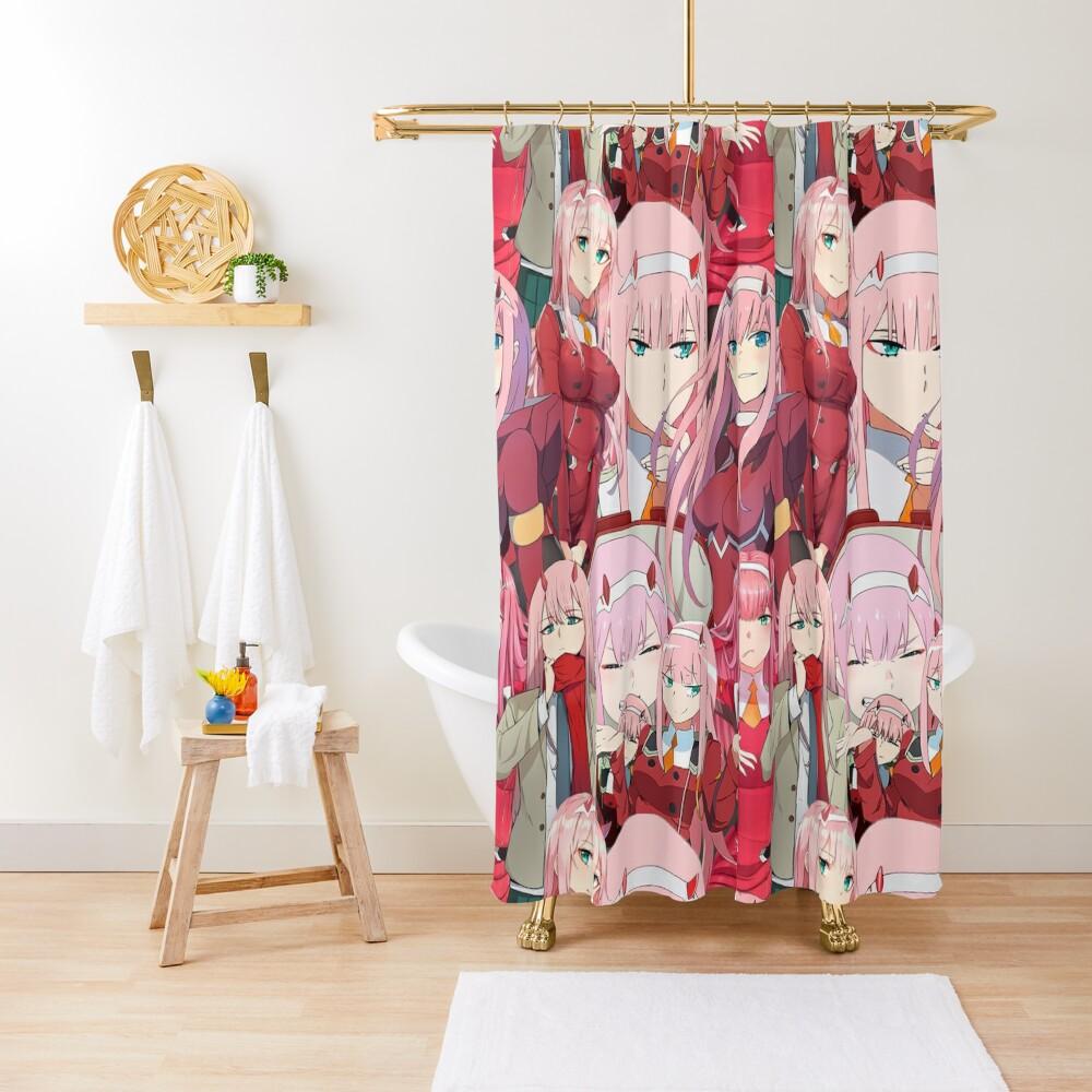 Zero Two Tribute Pattern Shower Curtain