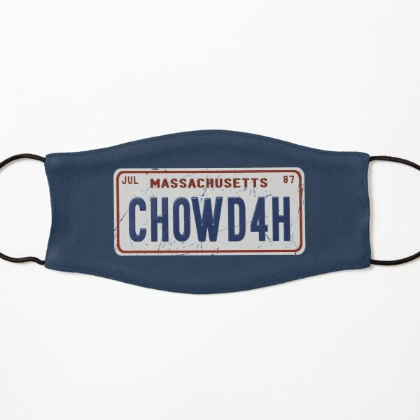 New England Clam Chowder CHOWDAH Boston Accent License Plate Kids Mask