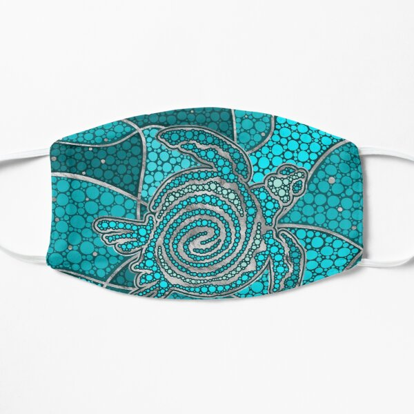 Turtle Aboriginal Dot Art Teal and silver Flat Mask