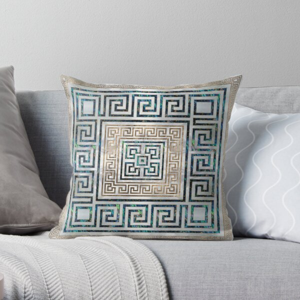 Greek Key Ornament - Greek Meander -Abalone and gold Throw Pillow
