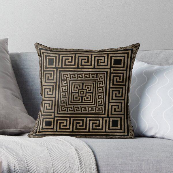 Greek Key Ornament - Greek Meander -Gold on Black Throw Pillow
