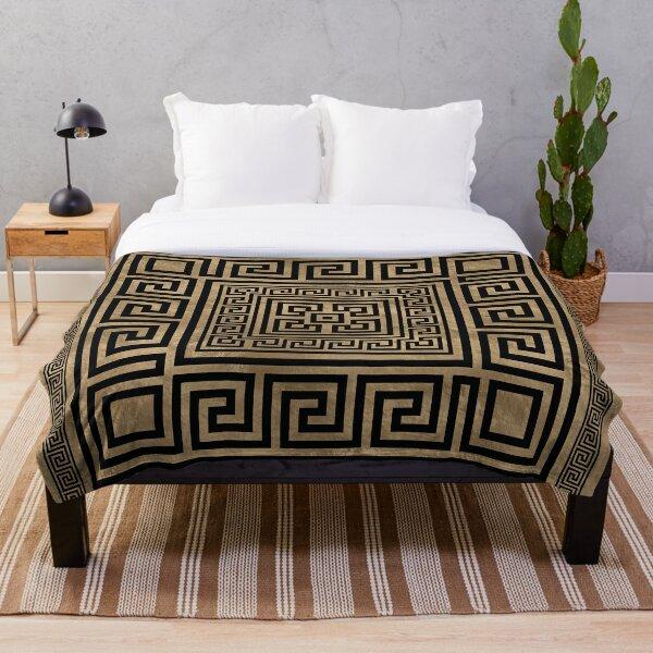 Greek Key Ornament - Greek Meander -Black on gold Throw Blanket
