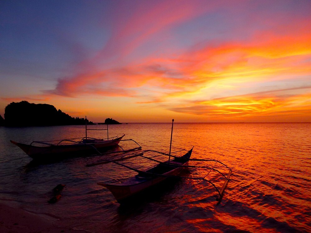 traditional fishing boats after sunset by supergold