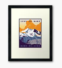 Live to Ride, Ride to Live retro cycling poster Framed Print