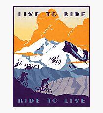 Lámina fotográfica Cartel de ciclismo retro Live to Ride, Ride to Live