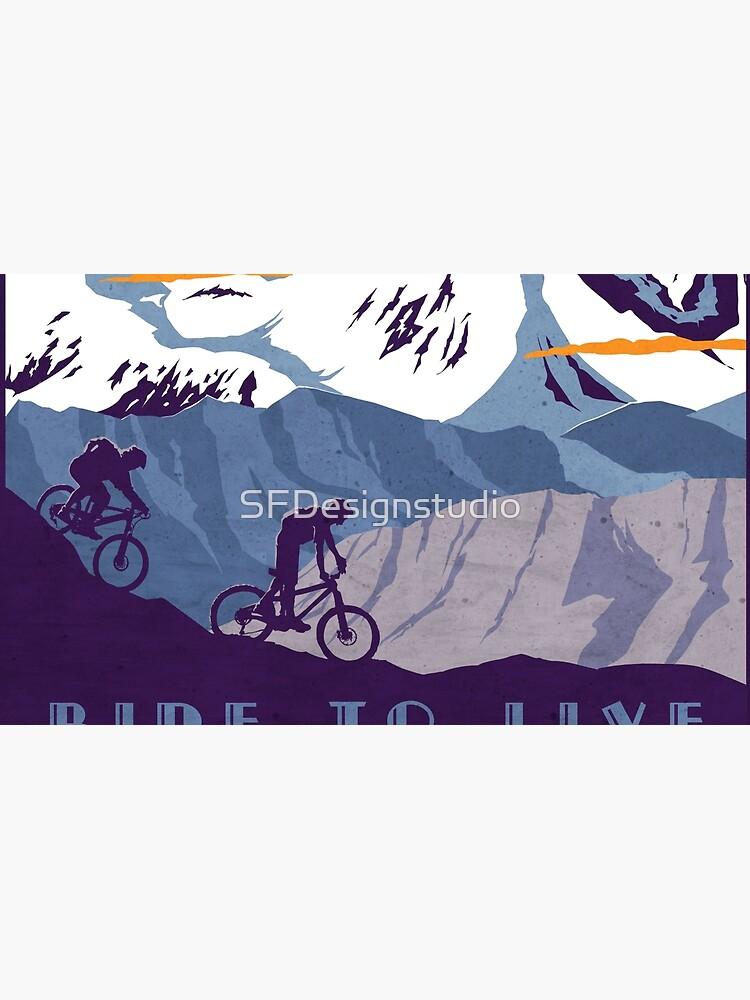 Cartel de ciclismo retro Live to Ride, Ride to Live de SFDesignstudio