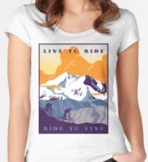 Live to Ride, Ride to Live retro cycling poster Fitted Scoop T-Shirt