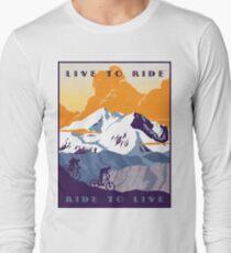 Camiseta de manga larga Cartel de ciclismo retro Live to Ride, Ride to Live