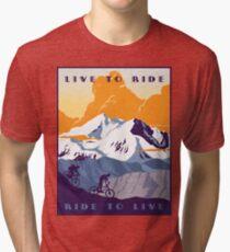 Camiseta de tejido mixto Cartel de ciclismo retro Live to Ride, Ride to Live