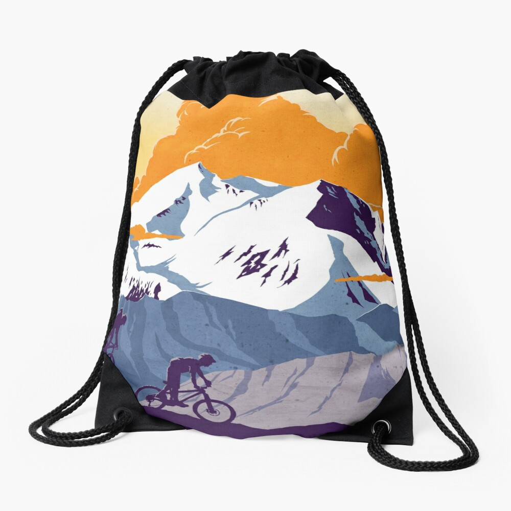 Live to Ride, Ride to Live retro cycling poster Drawstring Bag