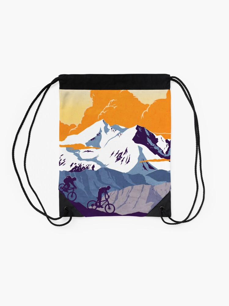 Alternate view of Live to Ride, Ride to Live retro cycling poster Drawstring Bag