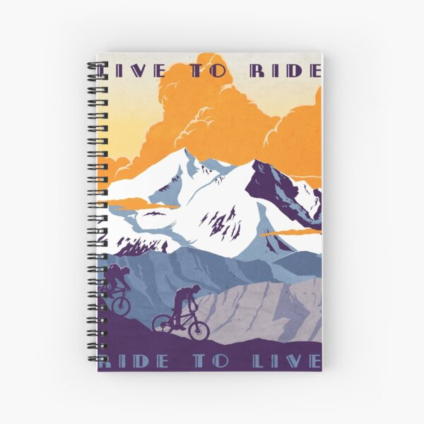 Live to Ride, Ride to Live retro cycling poster Spiral Notebook